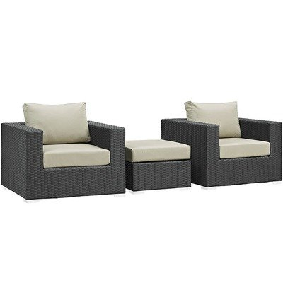 Soho Patio 3 Piece Conversation Set with Sunbrella® Cushion