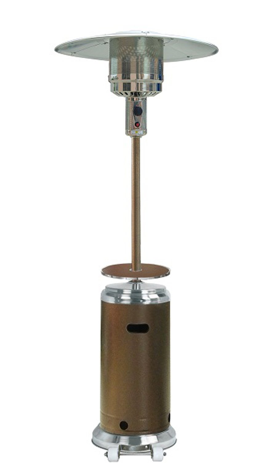 "87"" Tall Outdoor Patio Heater with Table-- Hammered Bronze w/ Stainless Steel"