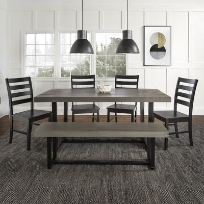 6-Piece Farmhouse Dining Set - Grey/Black