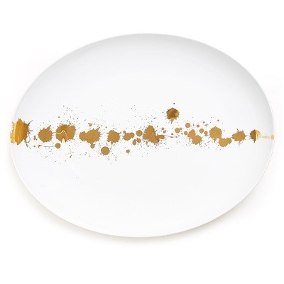 Jonathan Adler 1948 White and Gold Serving Platter