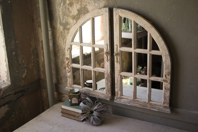 Whitewashed Arched Mirror