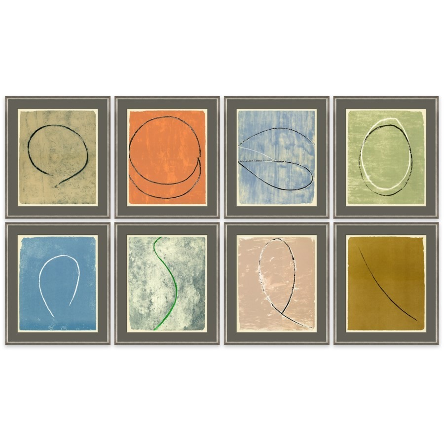 "When your walls are bare, trust that you'll find trendy home decor at Chicago Living. Purchase the ""Offset This"" 8-piece set of wall art. It features different framed works of lineart and offset colors."