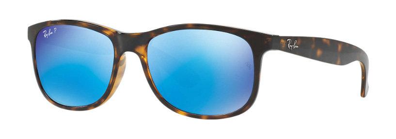 bdeb80ac2f3 Ray Ban Andy Tortoise Blue Flash Polarized RB4202 710 9R 55-17 RB4202 710