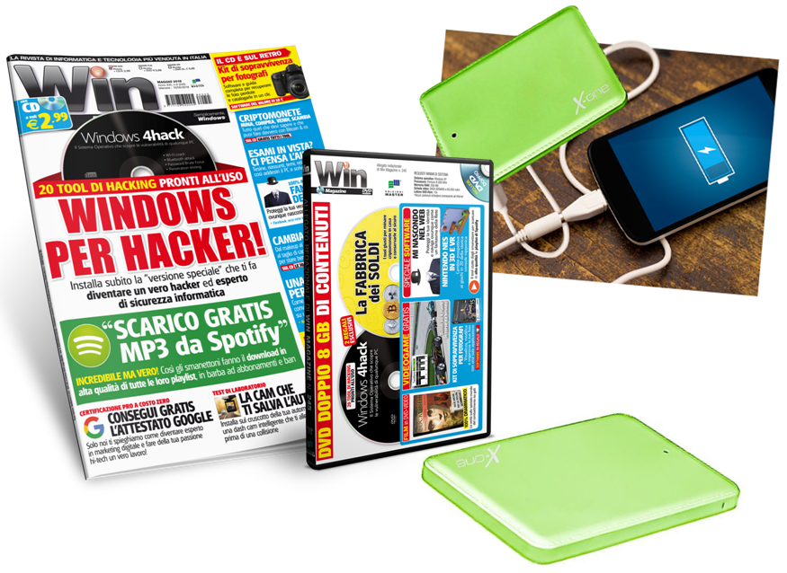 POWERBANK 3 IN 1  + Win Magazine - Abbonamento 1 anno