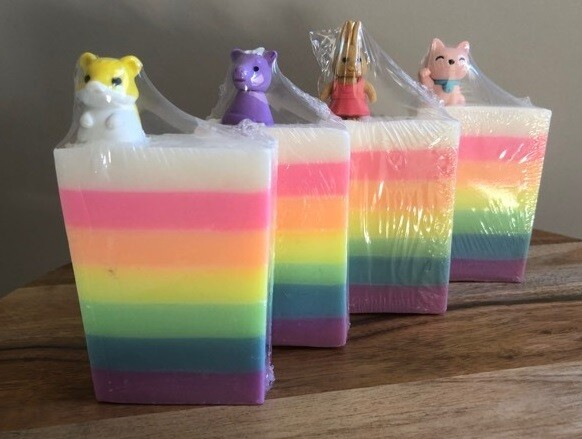 Rainbow Soap - Guinea Pig, Unicorn, Cat and Rabbit