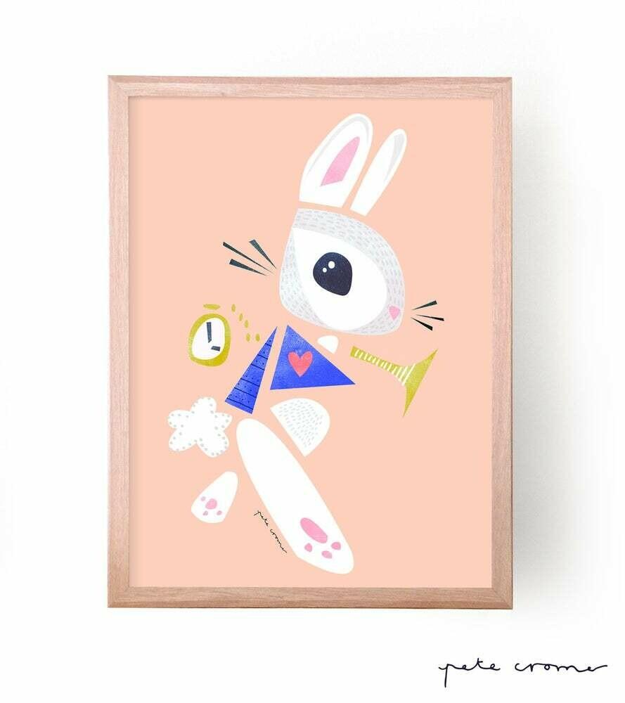 Pete Cromer 'White Rabbit' Print Unframed