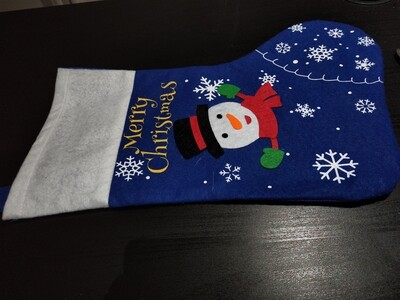 Blue snowman Stocking - Large
