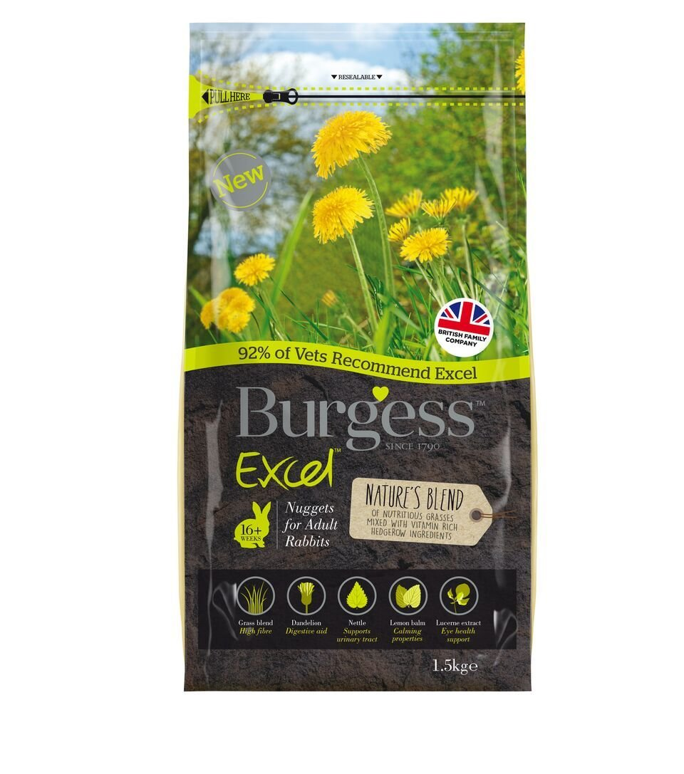 1.5KG BURGESS NATURES BLEND NUGGETS FOR ADULT RABBITS