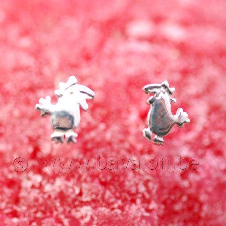 Oorringetjes voor kinderen in massief zilver - 'Kukeleku'