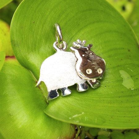 Hangertje voor kinderen in massief zilver - 'Heppie Hippo' (exclusief ketting)