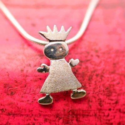 Hangertje voor kinderen in massief zilver - 'Prinsesje' (exclusief ketting)