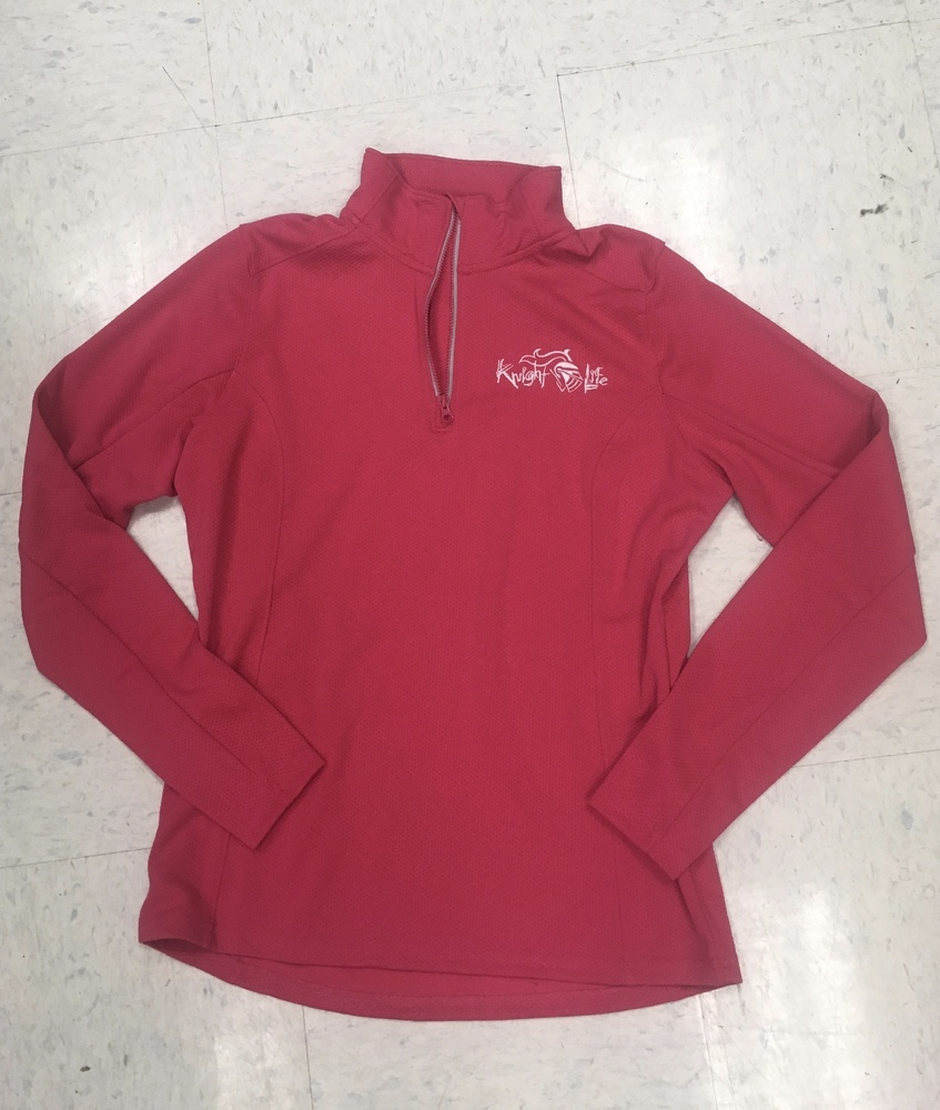 Ladies ¼ Zip Knight Life Waffle Pullover in Pink