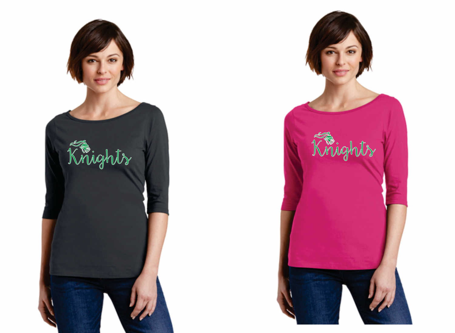Ladies Knights Scoop Neck Shirt in Hot Pink and Charcoal-limited sizes remain