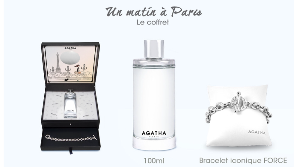 COFFRET UN MATIN A PARIS AGATHA eau de toilette 100ml + un bracelet FORCE iconique