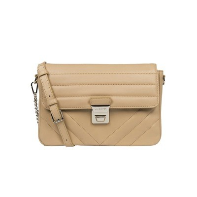 LANCASTER - Large crossbody bag with flap - Nude