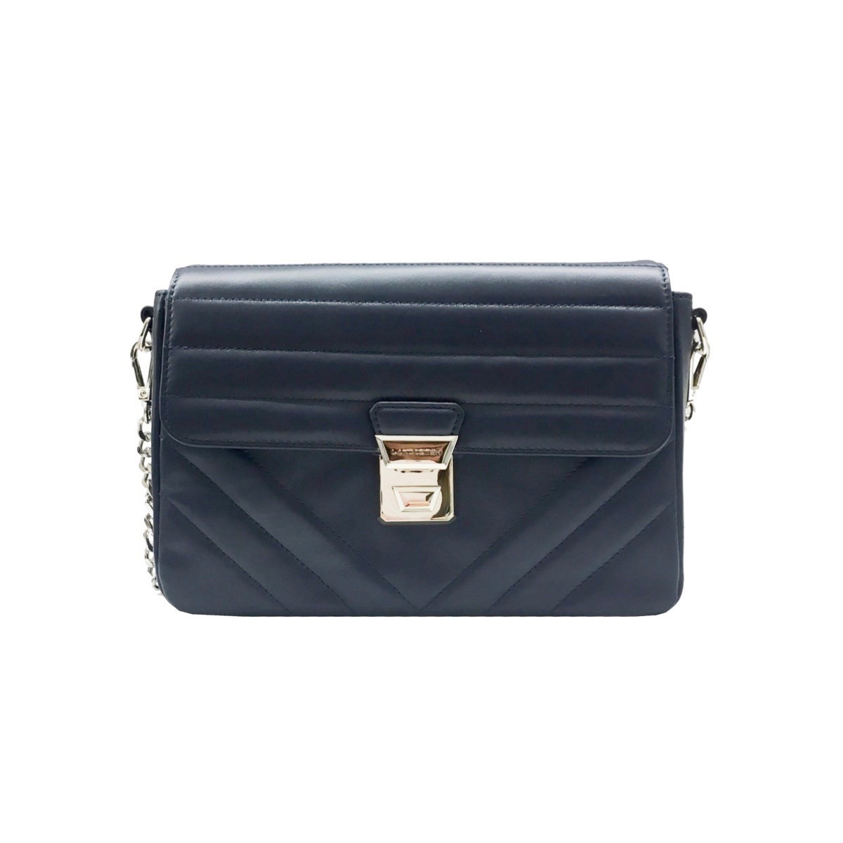 LANCASTER - Large crossbody bag with flap - Bleu Fonce