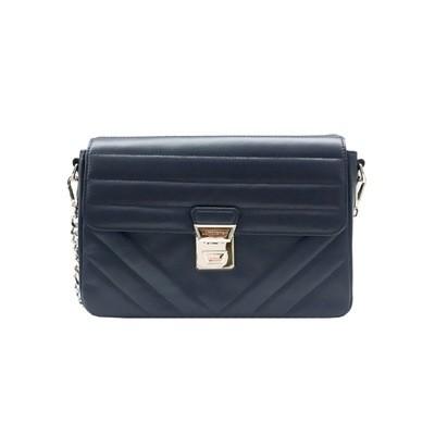 LANCASTER - Large crossbody bag with flap - Bleu Fonce