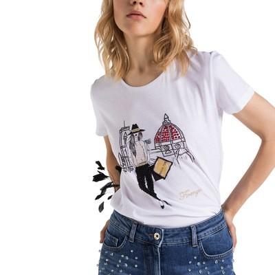 PATRIZIA PEPE - T-Shirt con stampa personalizzata Firenze - Bianco