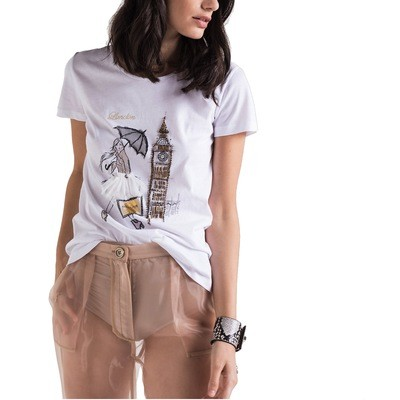 PATRIZIA PEPE - T-Shirt con stampa personalizzata London - Bianco