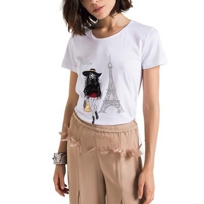 PATRIZIA PEPE - T-Shirt con stampa personalizzata Paris - Bianco