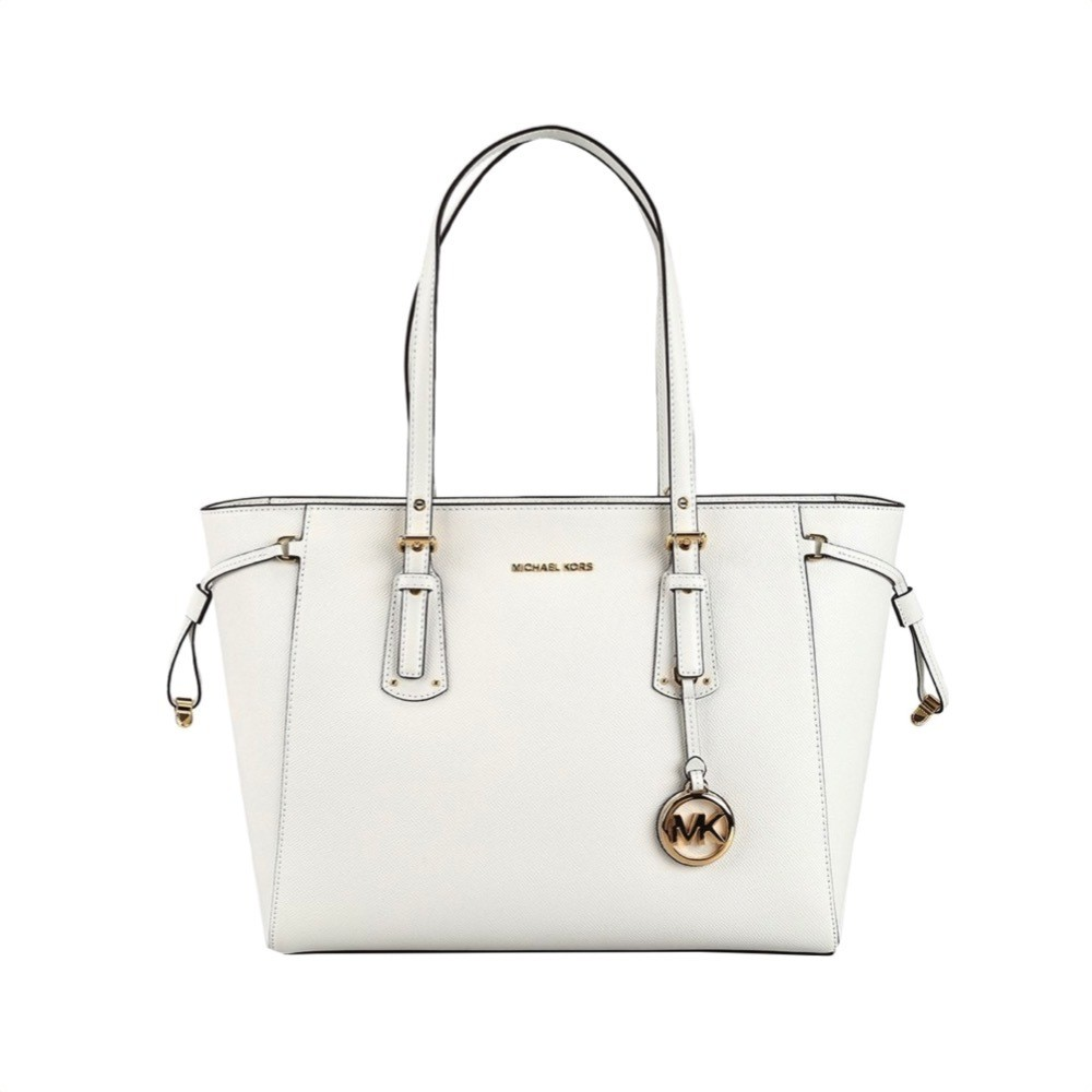 MICHAEL KORS - Voyager Medium Leather Tote - Optic White