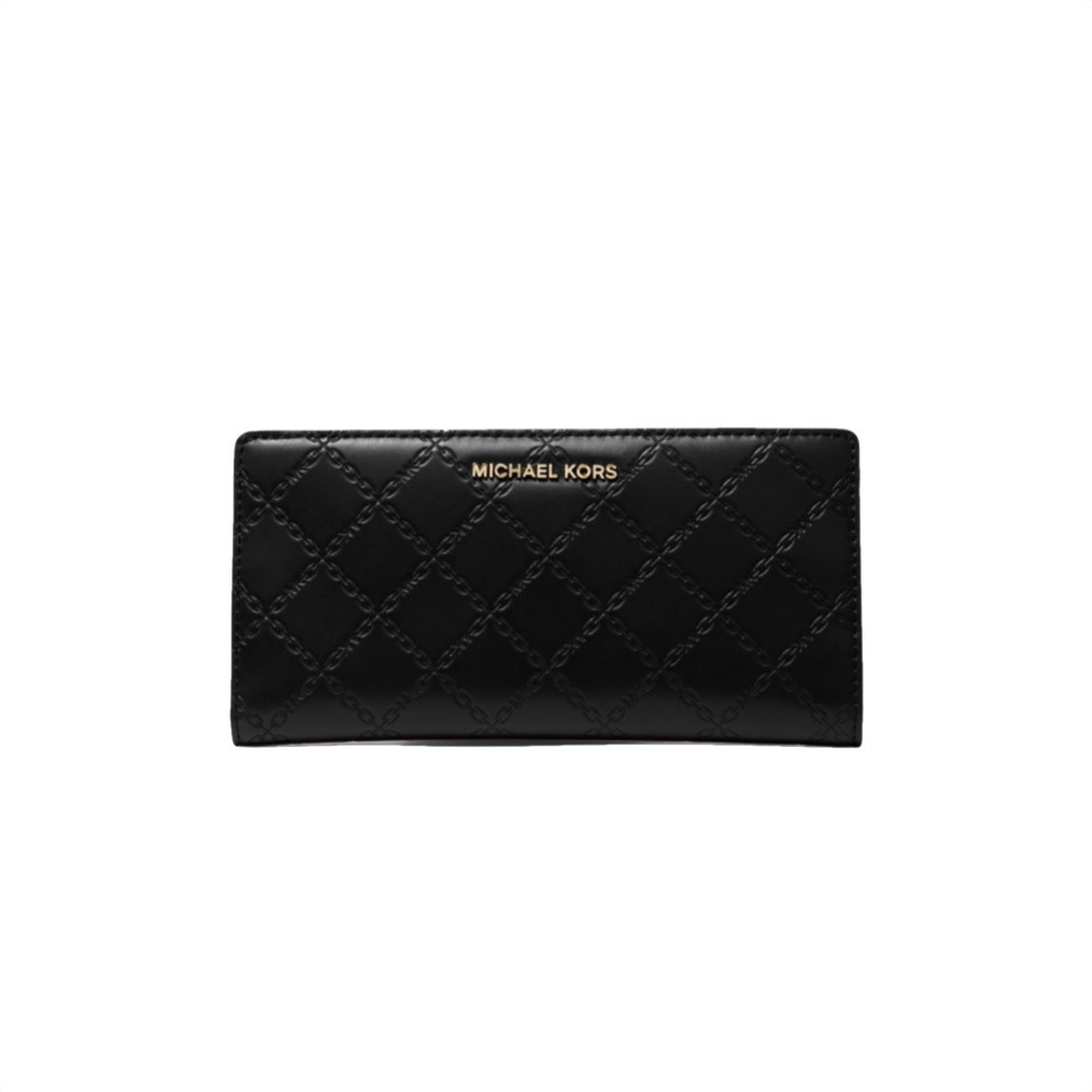 MICHAEL KORS - Large Chain-Embossed Leather Slim Wallet - Black