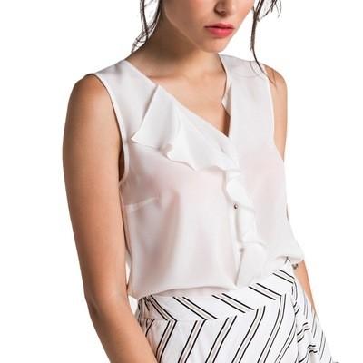 PATRIZIA PEPE - Camicia in Crepe de Chine di Seta - Bianco