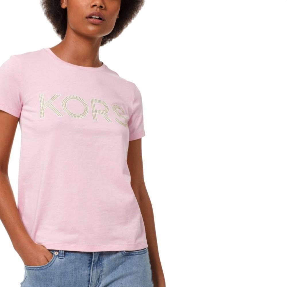 MICHAEL KORS - T-shirt KORS in jersey di cotone con borchie - Carnation
