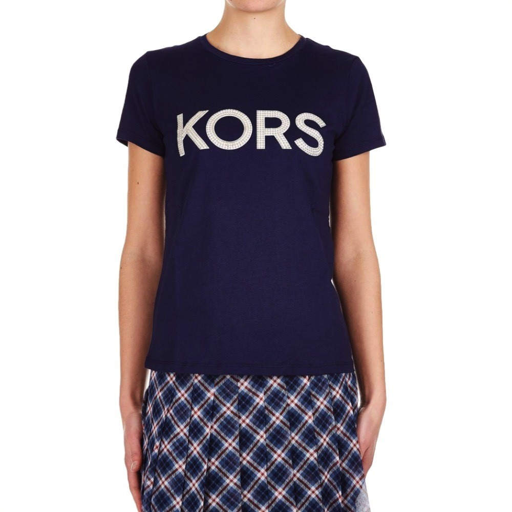 MICHAEL KORS - T-shirt KORS in jersey di cotone con borchie - True Navy
