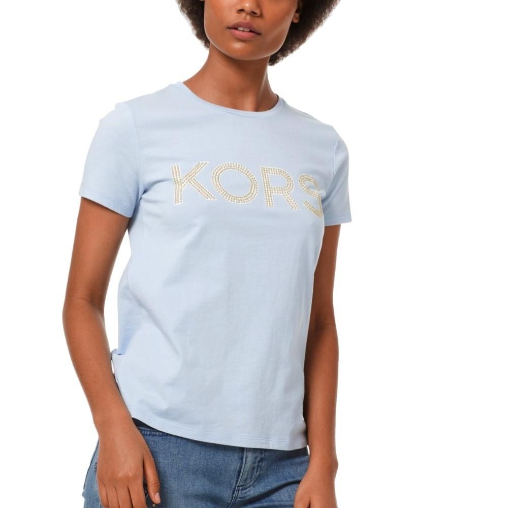 MICHAEL KORS - T-shirt KORS in jersey di cotone con borchie - Pastel Blue