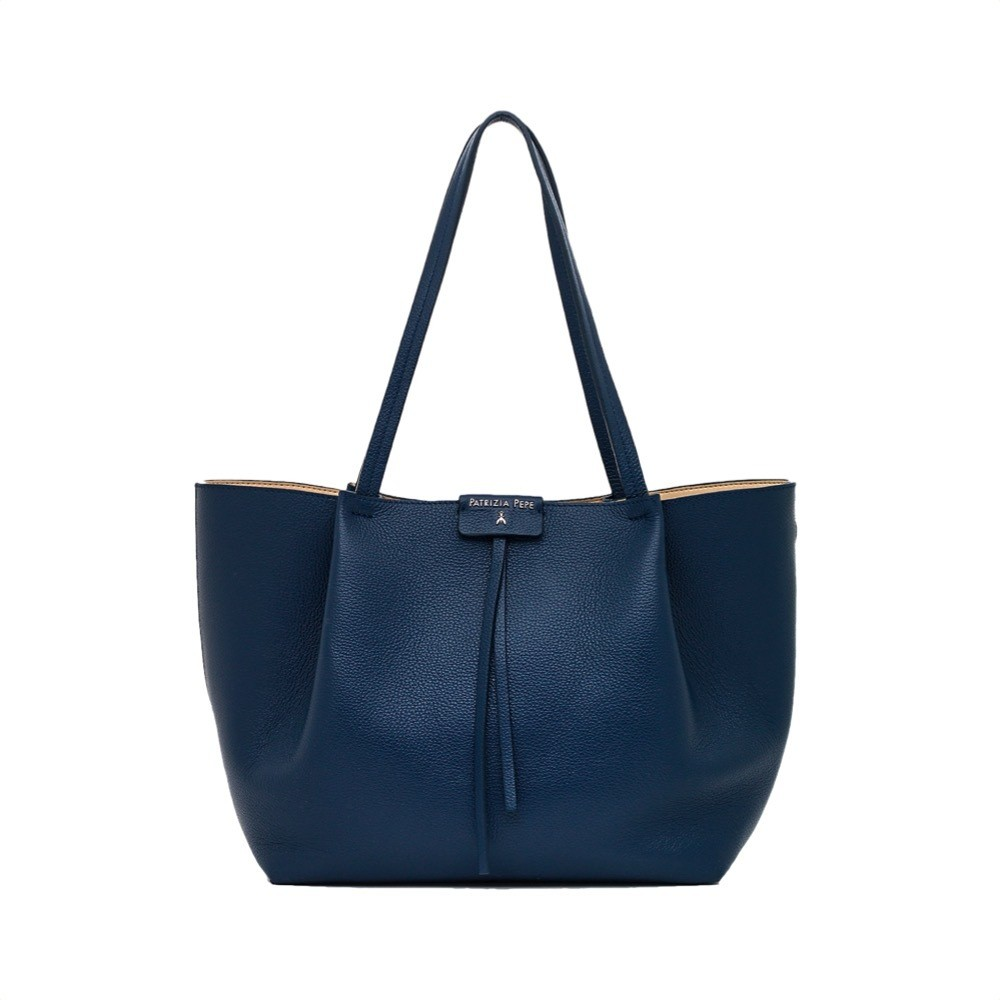 PATRIZIA PEPE - Borsa shopping in pelle - Dress Blue
