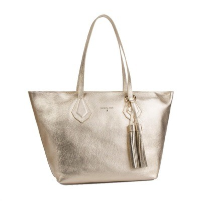 PATRIZIA PEPE - Shopping in pelle - Platinum/Moon Sand