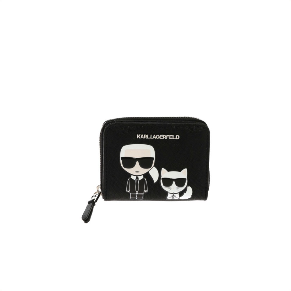 KARL LAGERFELD - K/Ikonik Small Zip Wallet - Black