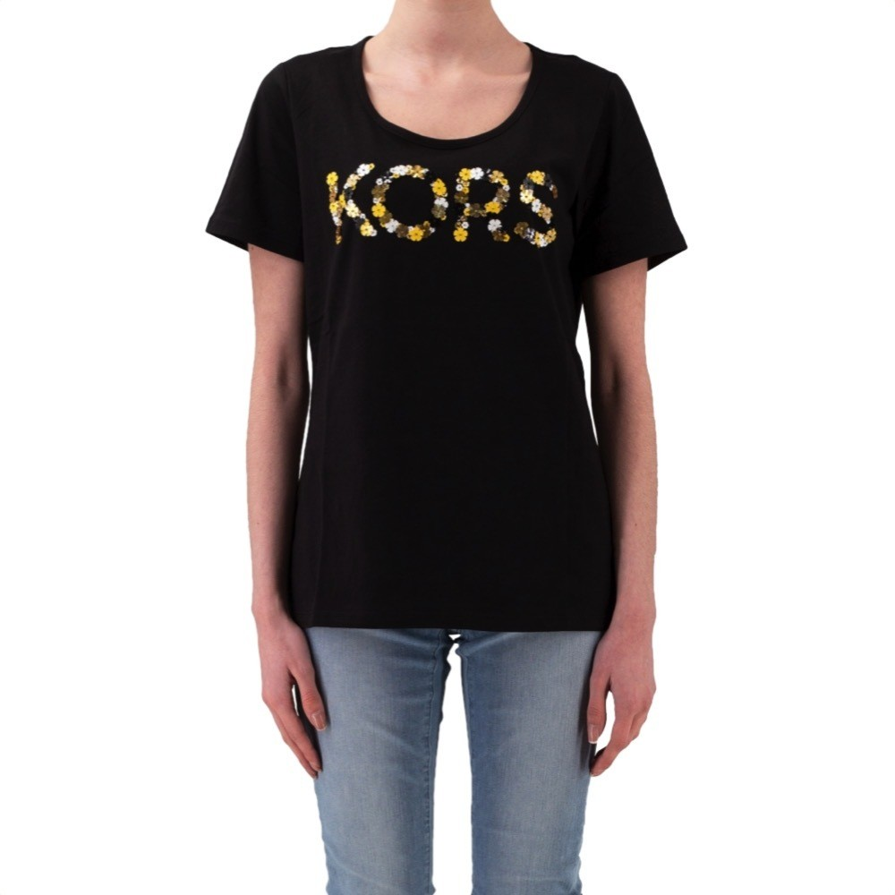 MICHAEL KORS - T-shirt KORS con paillettes - Black/GoldenYellow