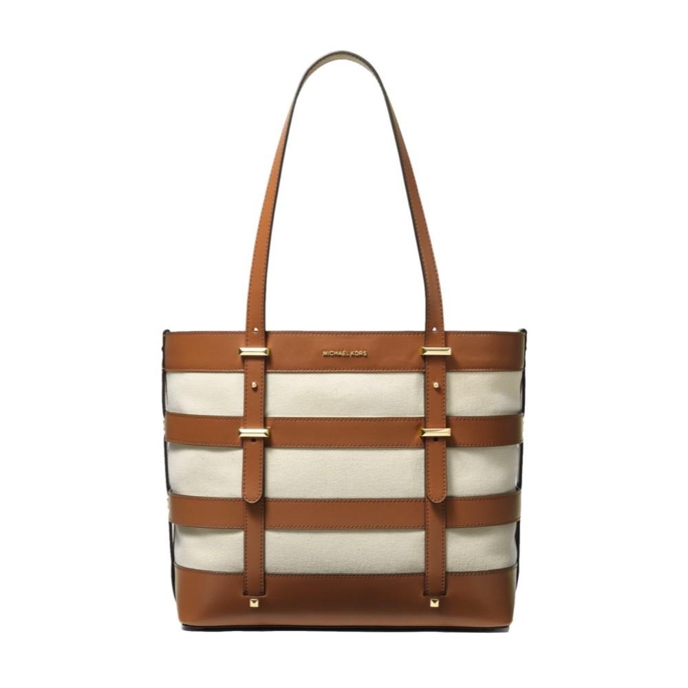 MICHAEL KORS - Marie LG Shopping Bag Canvas e Pelle - Natural/Acorn