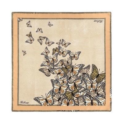 BORBONESE - Foulard farfalle 90x90 - Almond