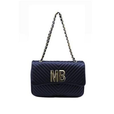 MIA BAG - Tracolla grande (misura CLASSICA) Personalizzabile - Blu con finiture ORO