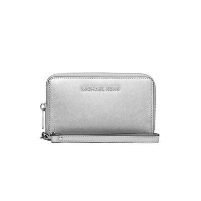 MICHAEL KORS - Jet Set Travel LG Flat Phone Case - Silver