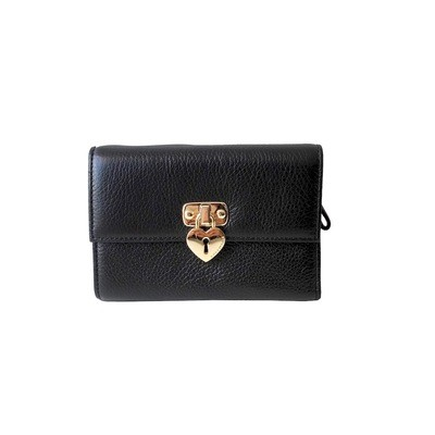 COCCINELLE - Portafoglio in pelle con lucchetto cuore - Nero