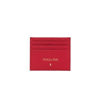 PATRIZIA PEPE - Porta tessere in pelle lavorazione saffiano - Matt Red