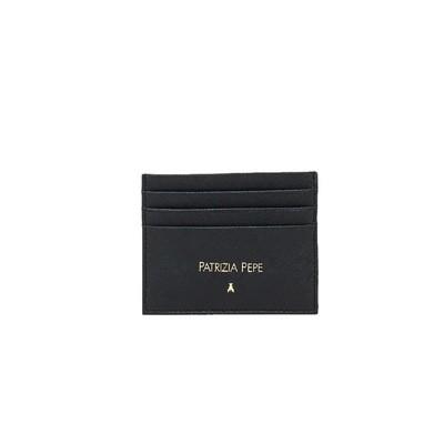 PATRIZIA PEPE - Porta tessere in pelle lavorazione saffiano - Nero