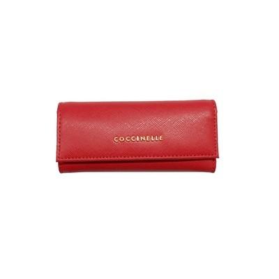 COCCINELLE -Metallic Saffiano Portachiavi in pelle - Rosso