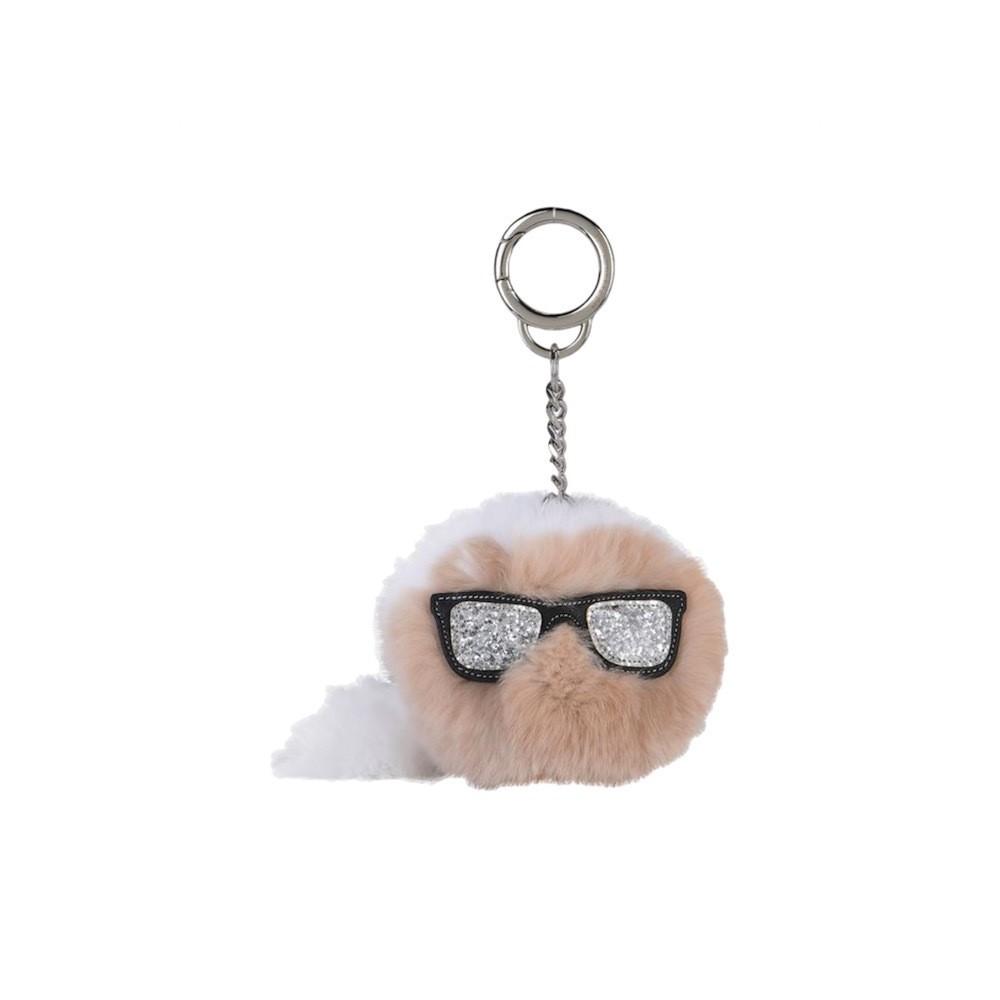 KALR LAGERFELD - K/Ikonic Fur Keychain - Black