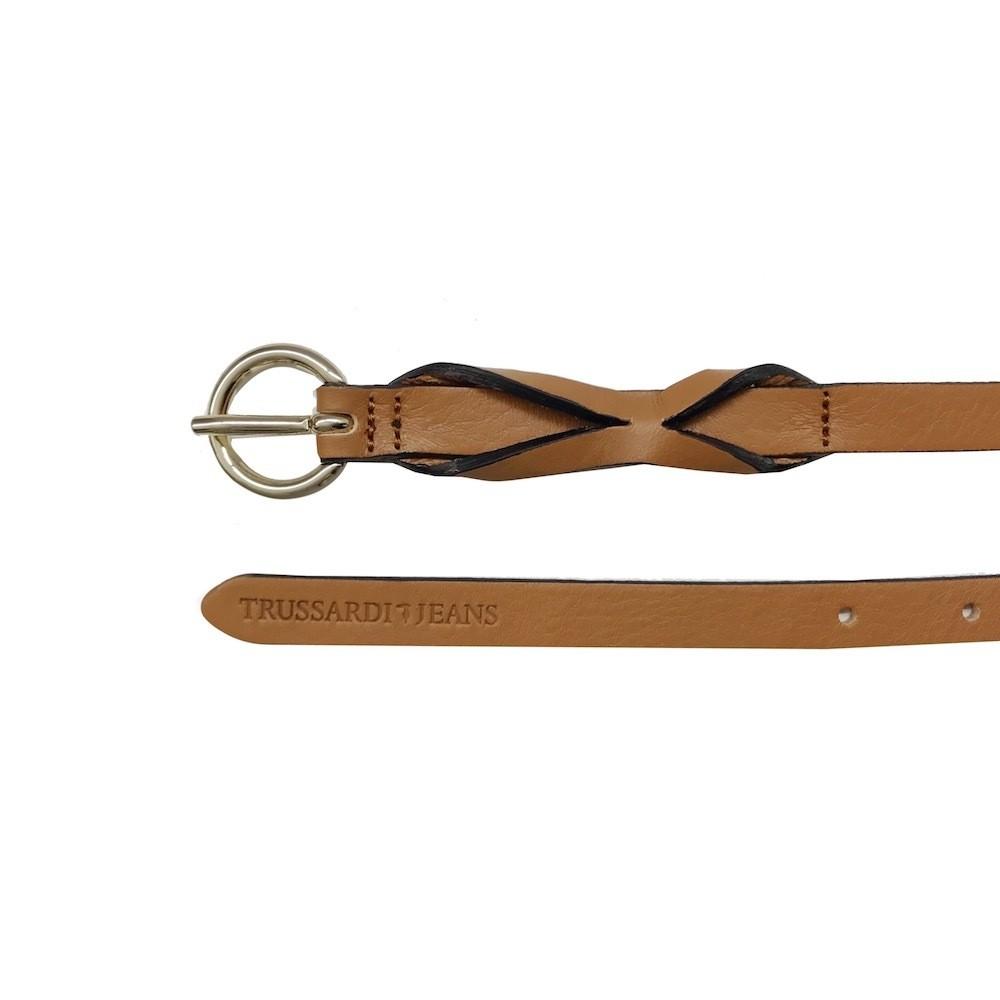 TRUSSARDI JEANS - Cintura in pelle - Cuoio