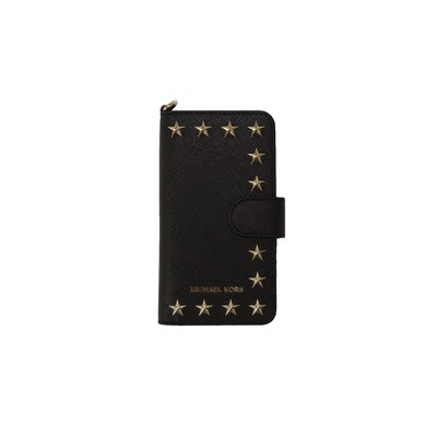 MICHAEL KORS - Cover in pelle saffiano con borchie IPhone 7 - Black