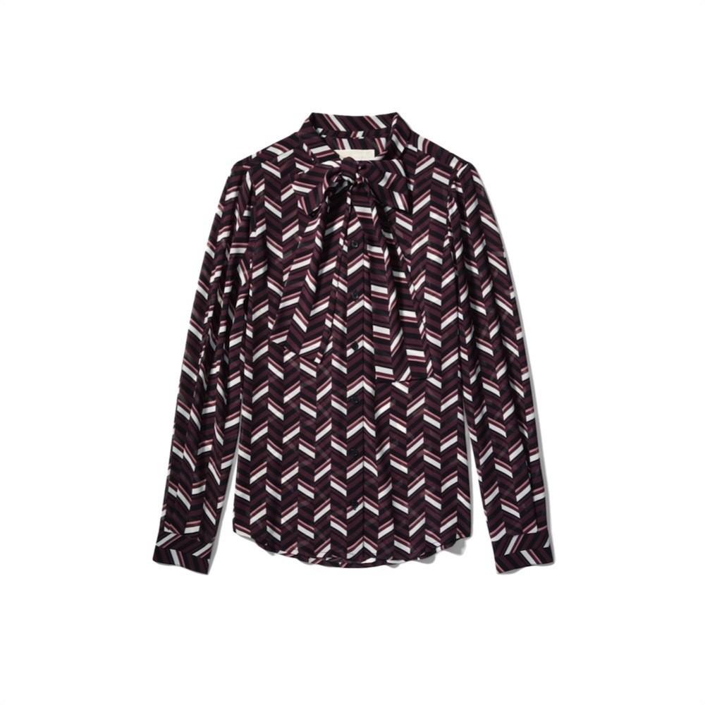 MICHAEL KORS - Blusa in georgette motivo chevron - Cordovan