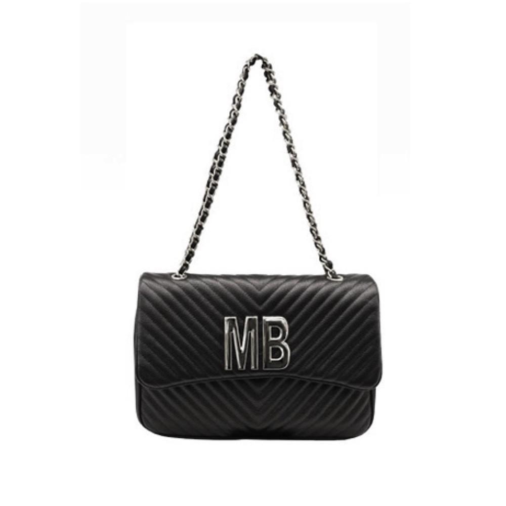 MIA BAG - Tracolla grande (misura CLASSICA) Personalizzabile - Nero con finiture ARGENTO