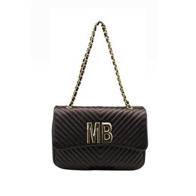 MIA BAG - Tracolla grande (misura CLASSICA) Personalizzabile - Nero con finiture ORO