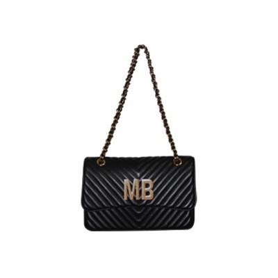 MIA BAG - Tracolla media Personalizzabile - Nero con finiture ORO