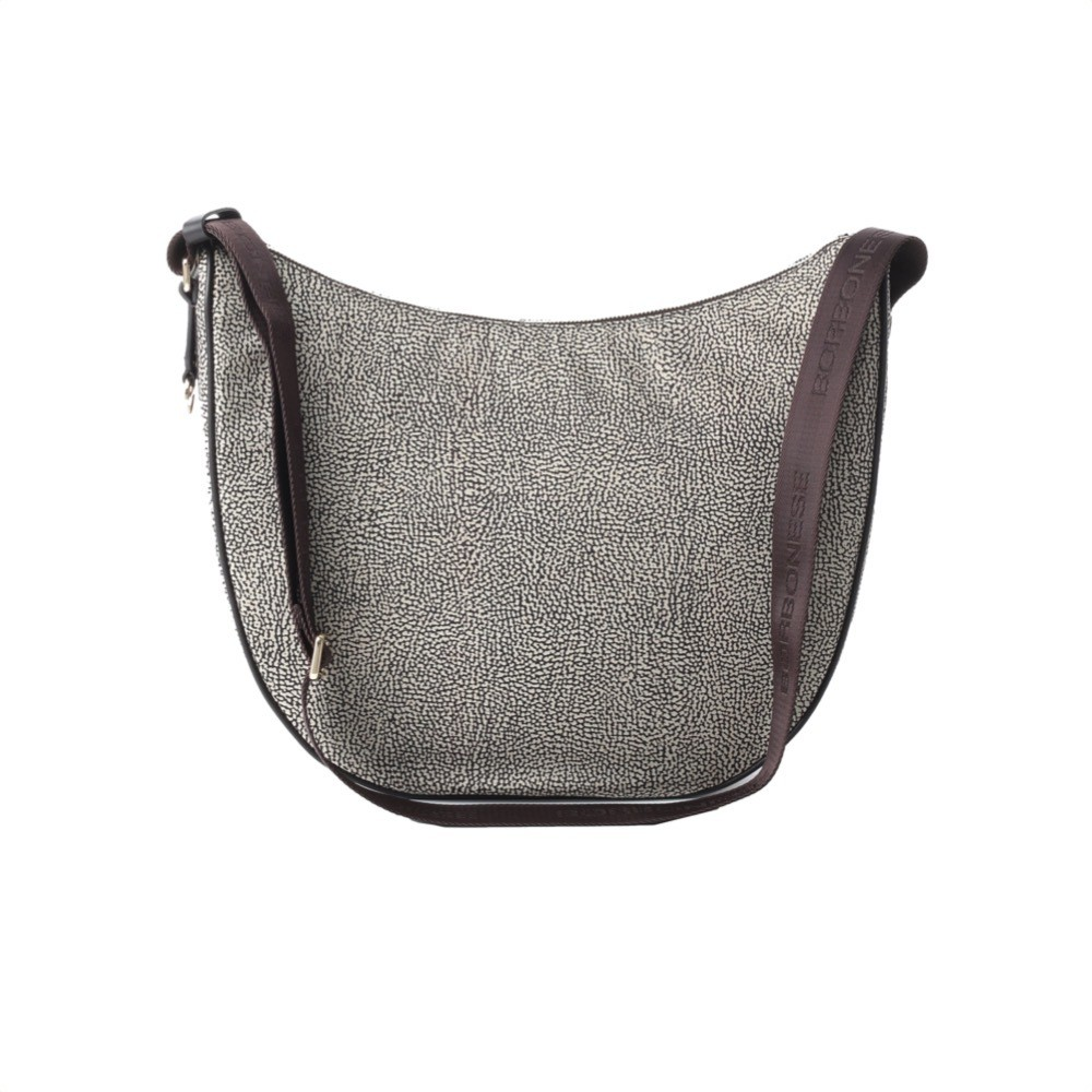 BORBONESE - Luna Bag Medium in Jet O.P. e pelle - Classico/Marrone